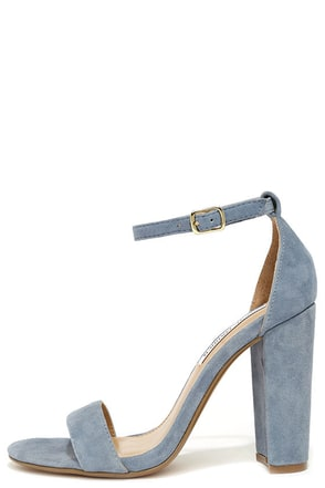 Steve Madden Carrson Blue Suede Leather Ankle Strap Heels at Lulus.com!
