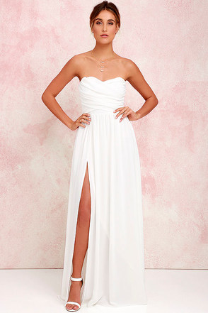 Moonlight Serenade Peach Strapless Maxi Dress at Lulus.com!