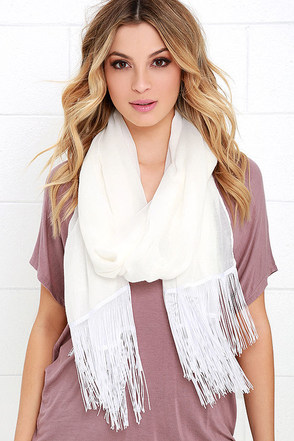 Breeze Through Ivory Fringe Scarf at Lulus.com!