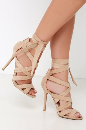 Everybody Can-Can Natural Suede Caged Heels at Lulus.com!