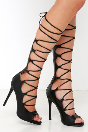 Passion Runway Nude Lace-Up Heels at Lulus.com!