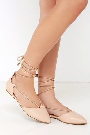 Line of Sight Nude Lace-Up Flats at Lulus.com!