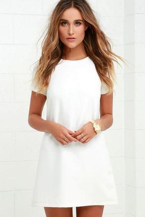 White whole crochet floral shift dress