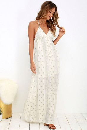 O'Neill Cynthia Cream Print Maxi Dress at Lulus.com!