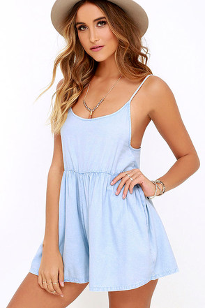 Billabong Roadie Blue Chambray Romper at Lulus.com!