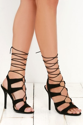 Heartbreaker Black Lace-Up Heels at Lulus.com!