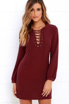Up, Up and Away Burgundy Lace-Up Dress at Lulus.com!