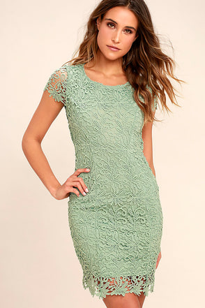 Hidden Talent Backless Sage Green Lace Dress 1