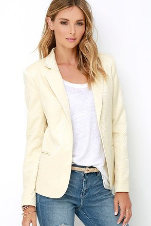 Hither and Slither Cream Jacquard Blazer at Lulus.com!