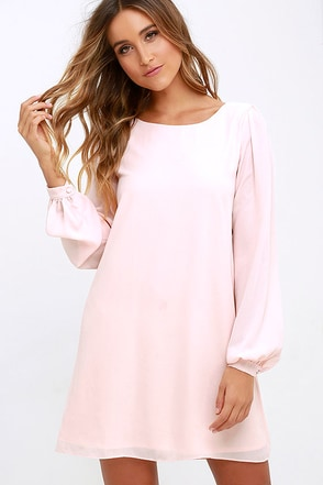 Status Update Light Peach Shift Dress at Lulus.com!