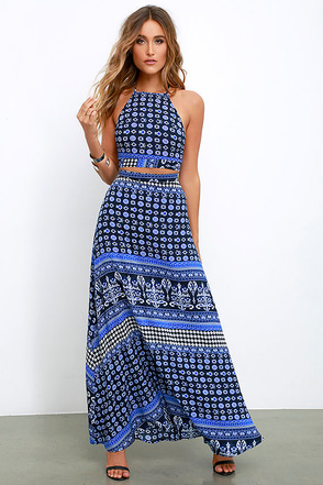 Energy Field Blue Print Two-Piece Maxi Dress at Lulus.com!