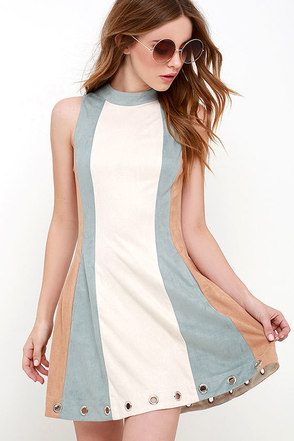 Color Story Beige Color Block Suede Dress at Lulus.com!