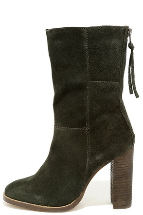Steve Madden Kaycie Olive Suede Leather High Heel Boots at Lulus.com!