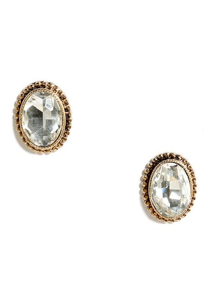 Opportunity of a Lifetime Gold and Peach Rhinestone Earrings at Lulus.com!