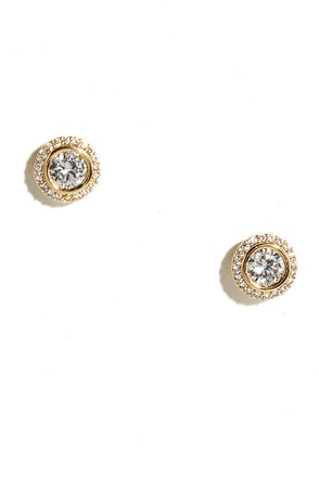 True Myth Gold Rhinestone Earrings at Lulus.com!
