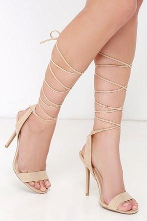 chic nude heels lace up heels leg wrap heels. Black Bedroom Furniture Sets. Home Design Ideas