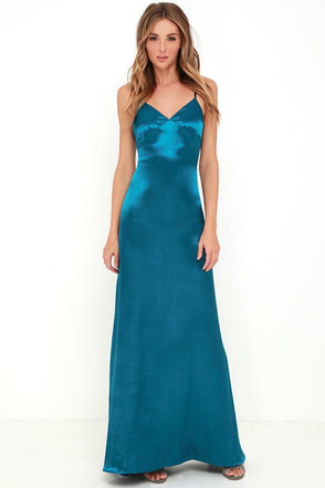 Sleek of Success Teal Blue Satin Maxi Dress at Lulus.com!