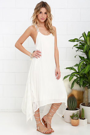 Casablanca Ivory Lace Midi Dress at Lulus.com!