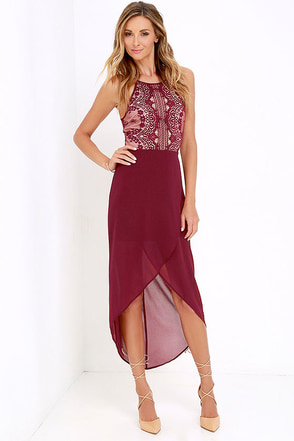 Happy As Can Be Wine Red Lace High-Low Dress at Lulus.com!