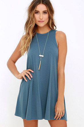 RVCA Sucker Punch 2 Blue Swing Dress at Lulus.com!