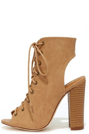 Hold Fast Beige Lace-Up Booties at Lulus.com!