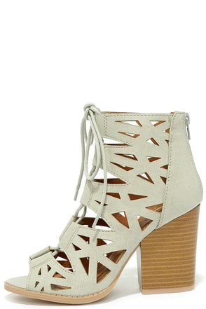 Shape on You Blush Cutout Lace-Up Booties at Lulus.com!