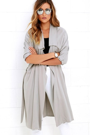Jack by BB Dakota Martha Grey Trench Coat at Lulus.com!