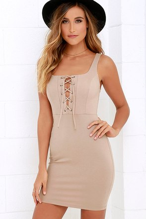 Quite Curious Beige Lace-Up Dress at Lulus.com!