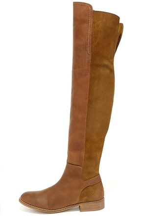 MTNG Elinor 94251 Tan Leather Over the Knee Boots at Lulus.com!