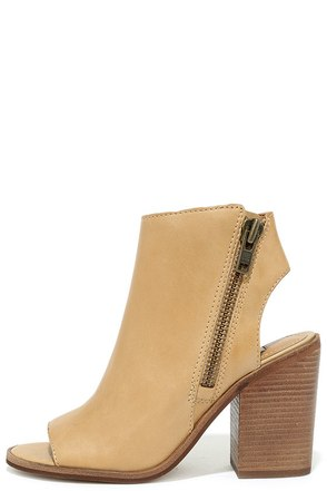 Steve Madden Terraa Natural Leather Peep-Toe Booties at Lulus.com!