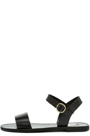 Steve Madden Donddi Black Leather Flat Sandals 1