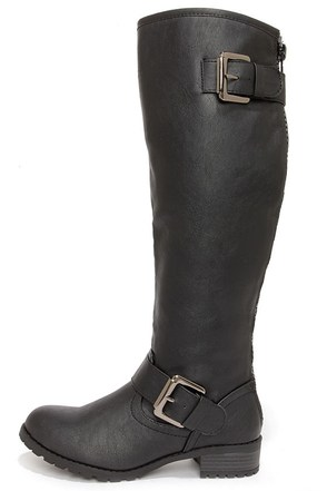 Soda Runic Black Buckled Riding Boots