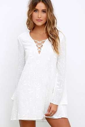 Graceful Stride Ivory Embroidered Shift Dress at Lulus.com!