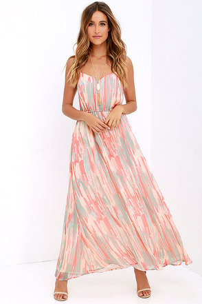 Jack by BB Dakota Hildy Peach Print Maxi Dress at Lulus.com!