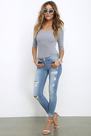 Walk Along Medium Wash Distressed Skinny Jeans at Lulus.com!