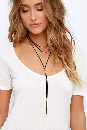 Stelliferous Gold and Black Choker Necklace at Lulus.com!