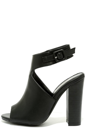Somehow Someway Black Peep-Toe Booties at Lulus.com!