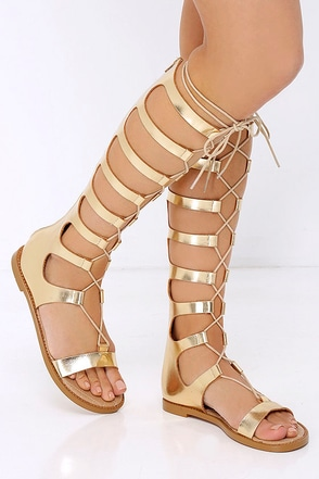 Chinese Laundry Galactic Gold Tall Gladiator Sandals at Lulus.com!
