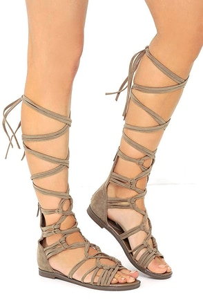 First Empress-ion Beige Suede Lace-Up Gladiator Sandals at Lulus.com!