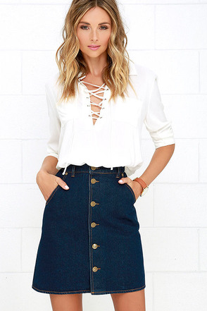 The Fifth Label Downtown Dark Wash Denim Skirt at Lulus.com!