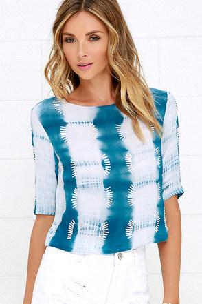 Bide My Time Teal Blue Tie-Dye Sequin Top at Lulus.com!