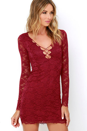 Entwine and Dine Wine Red Lace Dress at Lulus.com!