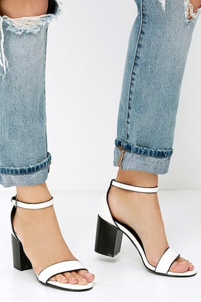 Shades of Cute White Ankle Strap Heels at Lulus.com!