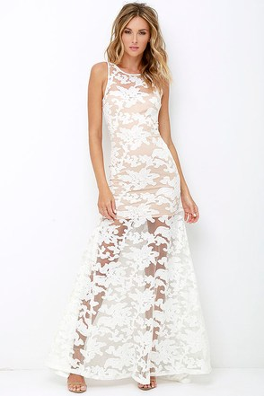 Paradise Luxe Ivory Lace Maxi Dress at Lulus.com!