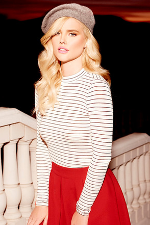 Anything is Posh-ible Black and White Striped Top at Lulus.com!