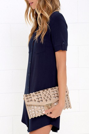 Geo du Jour Cutout Blush Clutch at Lulus.com!