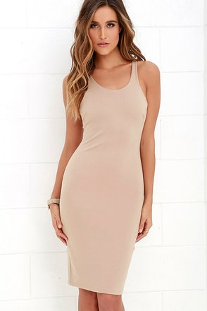 Lady of the Hourglass Beige Bodycon Dress at Lulus.com!