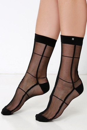 Stance Night Crawler Sheer Black Socks at Lulus.com!