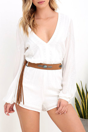 Setting Sun Tan Fringe Belt at Lulus.com!