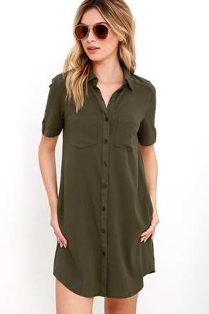 Oxford Comma Blush Shirt Dress at Lulus.com!